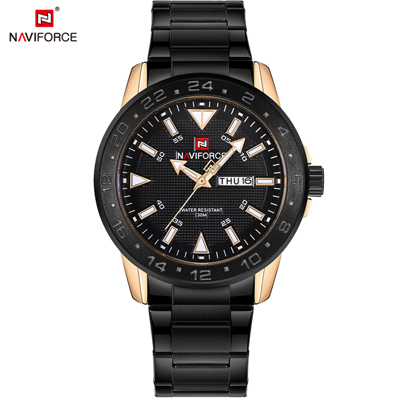 Top Luxury Brand NAVIFORCE Men's Full Steel Watches Men Analog Quartz Watch Man Fashion Swim Sports Army Military Wrist Watch 2016 men s brand naviforce fashion sports watches men 3d dial quartz watch man nylon strap army military wrist watches