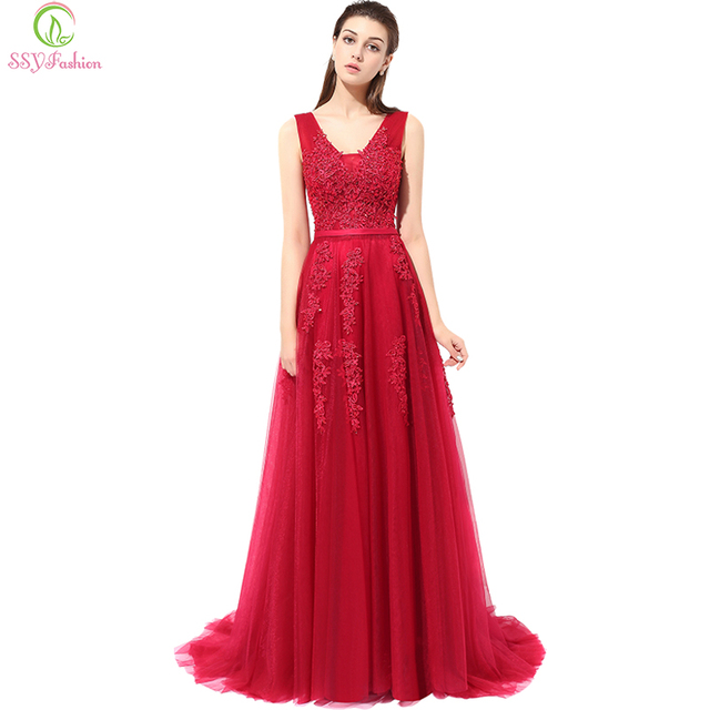 Robe De Soiree Ssyfashion Lace V Neck Y Sleeveless Long Evening Dress Cover Back Sweep