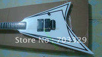 Brand New SP Fly Ing V White Electric Guitar Ebony Fretboard Hook Inlay Neck Free Shipping