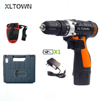 XLTOWN 12V cordless electric drill with a plastic box lithium battery rechargeable electric screwdriver household power tools