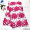 BEAUTIFICAL rosa net spitze stoff milch seide tüll spitze groß spitze stoff Zwei-farbe design 5yards/lot für party kleid ML5N339