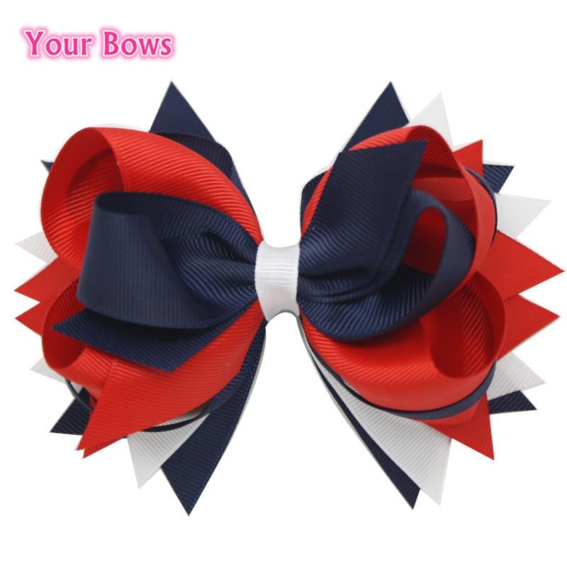2016 წლის 4 ივლისი საჩუქრების ბუტიკი თმის მშვილდები 6 სმ თმის კლიპებით თეთრი მყარი მშვილდ Grosgrain Ribbon Bows საბავშვო გოგონა თმის აქსესუარები