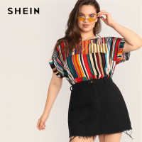 SHEIN Plus Size Multicolor Colorful Striped Top Blouse 2019 Women Summer Casual Short Sleeve Round Neck Big Size Blouses