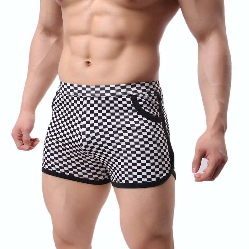 Men's Underwear Loose Leisure Shorts Cotton Comfortable Men Boxer Shorts Fashion Plaid Boxers Men Lounge Home Wear Underwears