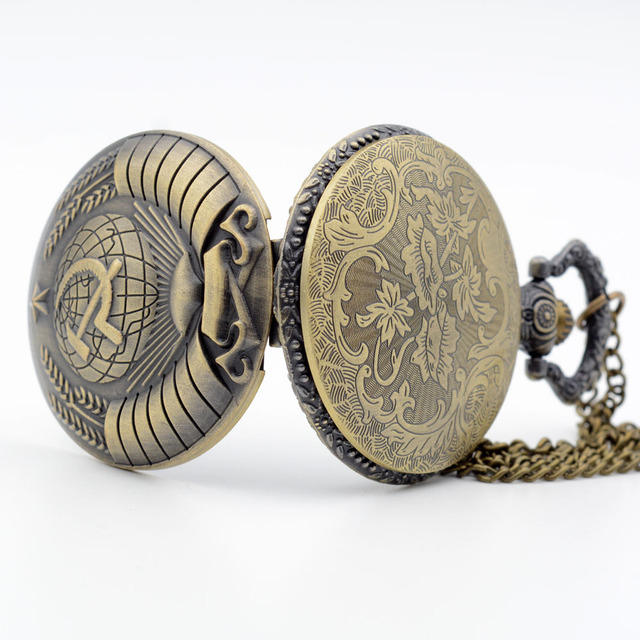 Retro Bronze USSR Emblem Earth Sickle Hammer Wheat Quartz Pocket Watch, Pendant & Necklace