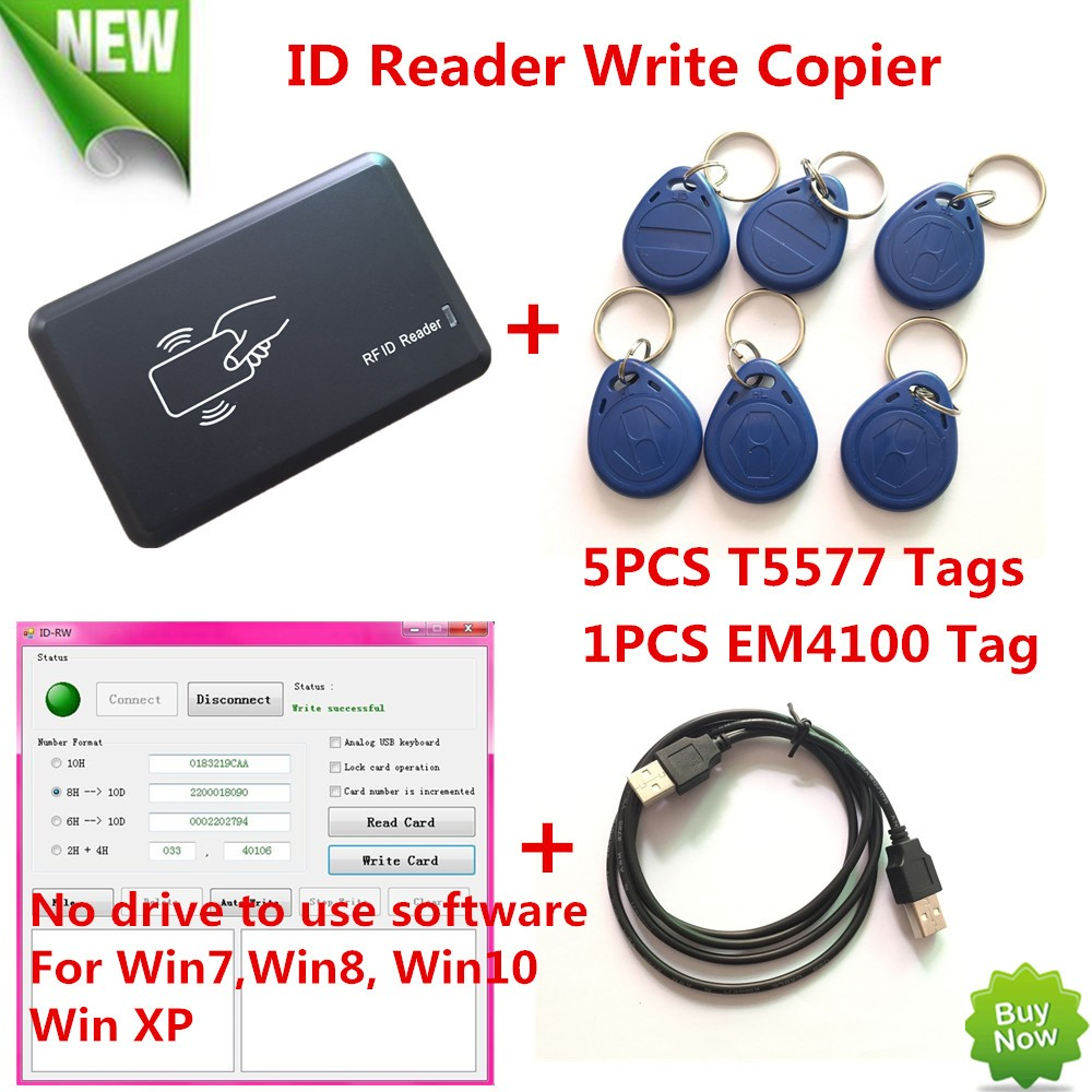 125KHZ RFID ID Card Reader Writer Copier Duplicater For Access Control+5 PCS EM4305/T5557 Tags+ DEMO Nodriver Software