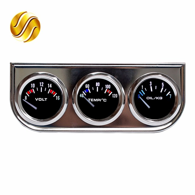 Dragon Gauge Car Triple Voltage Water Temperature Oil Press Chrome Holder