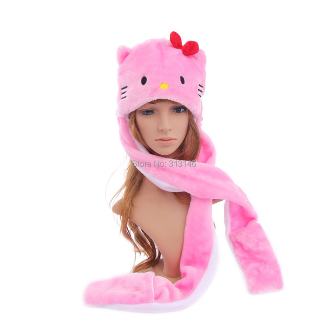 5c674c430b0 Cartoon Plush Animal Faux Fur Full Hood Pink Hello Kitty Hat Women Girls  Costume Beanie with Long Scarf Mittens Gloves Earmuffs