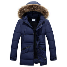 2016 Casual Men's Winter Puffer Jacket Fur Hooded Cotton-padded Warm Outwear Coat Thick High Quality Campera Hombre Invierno