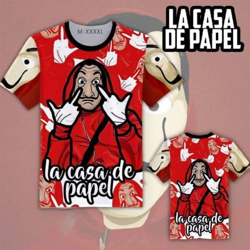 La casa de papel/House of Paper/Money Heist Salvador Dali Mask Designed T-shirt Tee Tops Short Sleeve Summer Cosplay Costume Hot