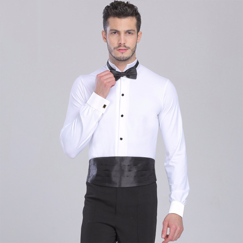2017 New Arrival Men Ballroom Dance Shirt Red White Black Dance Top Shirt Collar Swallow Collar