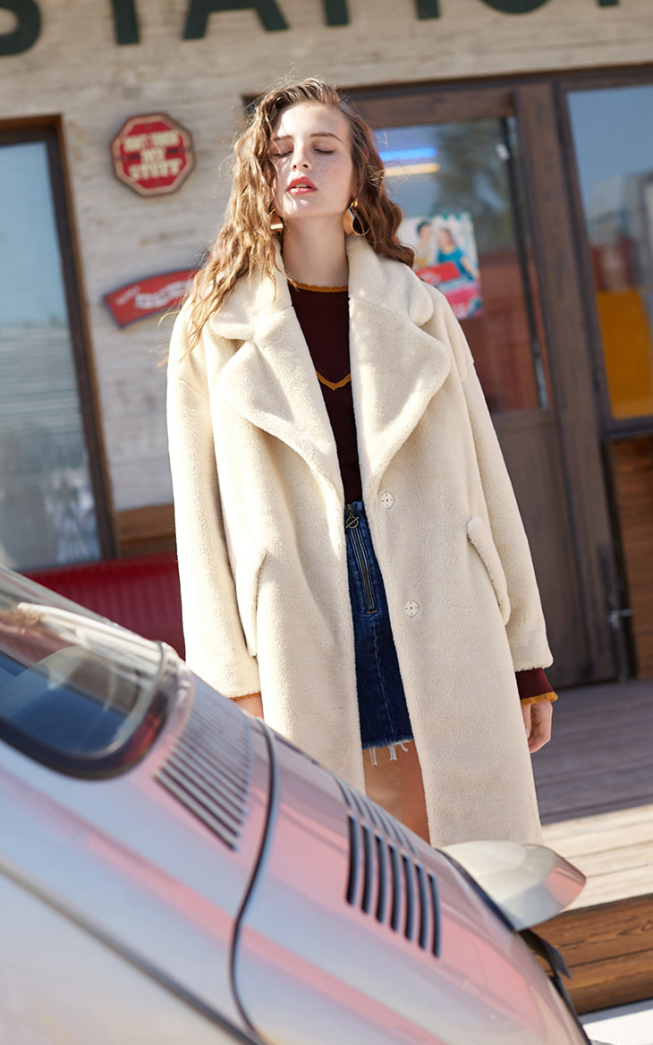 Vero Moda lapel drop shoulder long teddy bear winter coat jacket | 318309503 23