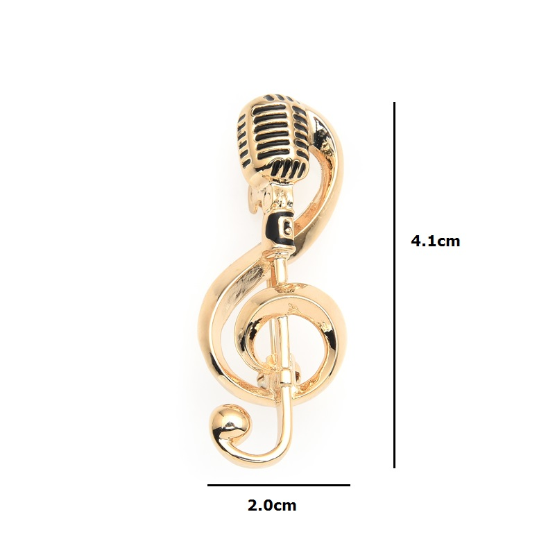 Wuli&baby Gold Color Microphone with Treble Clef Brooch -1