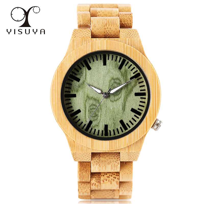 Luxury Full Wooden Strap Watches Unique Green Dial Design Men Quartz Wrist Watch Handmade Wood Bamboo Fashion Watch new 100% handmade head deer elk dial design mens bamboo wood quartz watch with real leather strap for gift relogio masculino