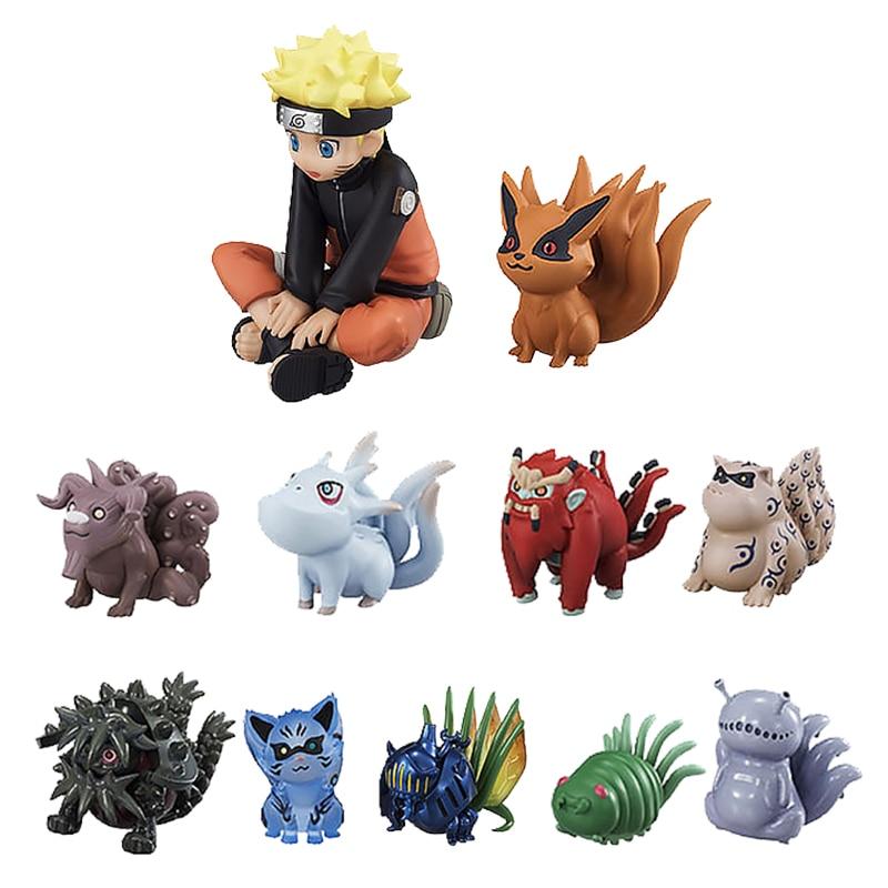 11pcs/set Uzumaki Naruto PVC Action Figures Bijuu Kyuubi Kurama Gaara Shukaku Utakata Mini Collectible Dolls Toy For Children #E 2pcs set naruto kyuubi kurama shuukaku pvc figure collectible toy 11cm kt4019