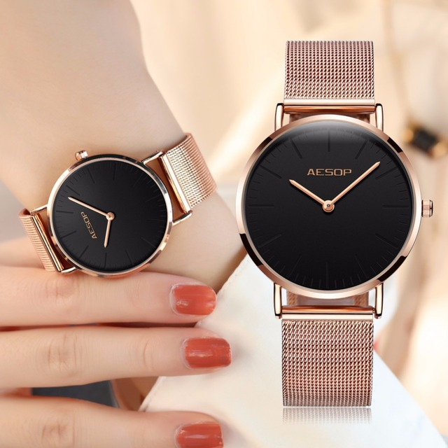AESOP Luxury Brand Quartz Watch Women Fashion style Rose Gold Steel Bracelet Wat