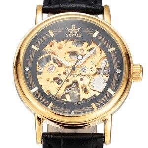 Image 2 - ผู้ชายนาฬิกาหรูSEWORนาฬิกาข้อมือยี่ห้อR EtroสายหนังโครงกระดูกนาฬิกาRelogioชายทองวิศวกรรมโครงกระดูกนาฬิกา