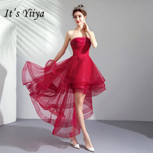 It's YiiYa Champagne Prom Dress Strapless Fashion Tiered High Low Design Party Dresses Sleeveless Short Formal Prom Gowns E142 все цены