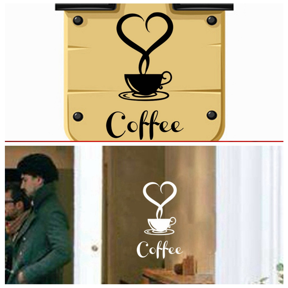Coffee Shop Restaurant Love Heart Wall Stickers Home Decals Cafe ...