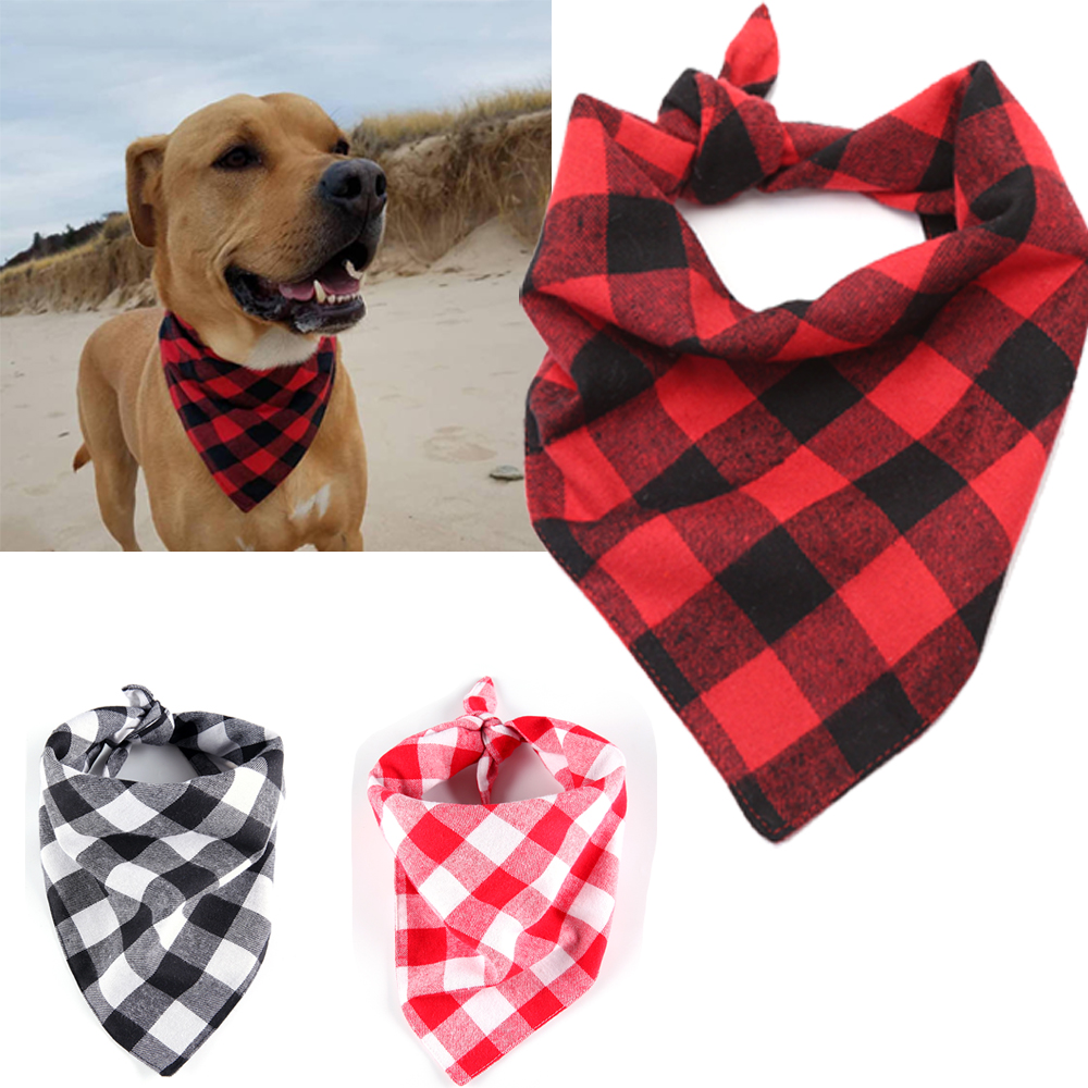Pet Cotton Scarf Red Grid Dogs Grooming Accessories Triangular Bandage Collar for Small  ...
