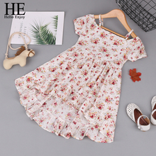 HE Hello Enjoy Baby  Dresses Girls Princess New Arrival Cotton Clothing Print flower Summer Kids Party Dress for Children Wear flower girls dress the princess dress for girls 3d cotton fabric party dresses kids vase print vest royal clothing 4y 14y