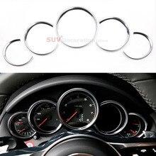 цена на NEW!!For Porsche Cayenne Macan 2011 - 2016 Chrome ABS Dashboard Console Decorative Ring Trim 5pcs