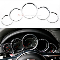 For Porsche Cayenne 2011 2016 FOR Porsche Panamera 2010 2015 ABS Chrome ABS Dashboard Console Decorative Ring Trim 5pcs