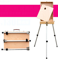 Super Light Portable Wooden Easel Painting Material Handle Sketching Box Aluminum Alloy Mini Easel Wooden Easel Oil Painting Box