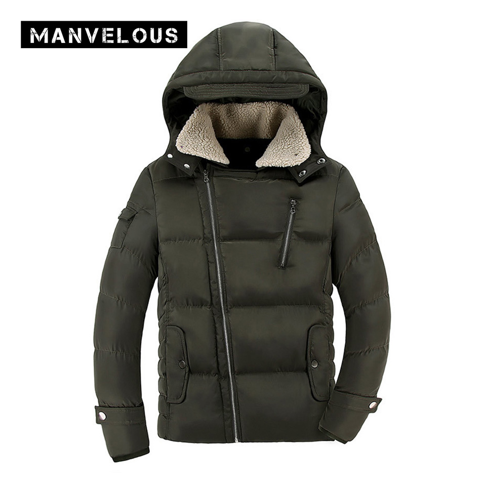 Manvelous Parka Jacket Men England Style Casual Straight Solid Thick Zipper Long Sleeve Hooded Mens Winter Jackets Parkas Coats цены онлайн