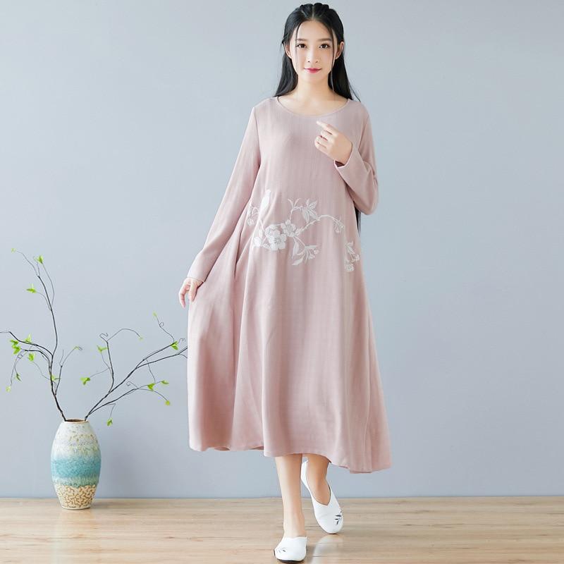 Automne hiver nouvelle robe chinoise col rond broderie rétro quotidien coton linge Art femmes vêtements rose