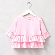 hot deal buy 3-9years knit cotton girls shirt ruffle short sleeve baby girls t-shirt kids clothing tops tees free shipping