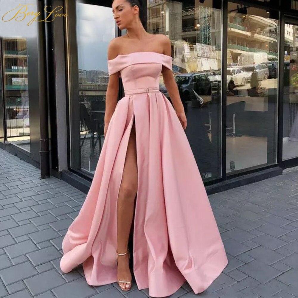 BeryLove élégant épaule dénudée Blush rose robe de soirée 2019 Satin soirée ceinture mode robe de bal fente formelle robe de soirée longue