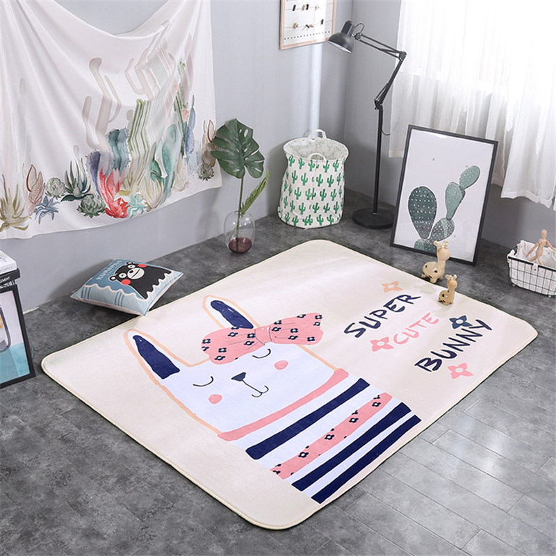 195*145cm Animals Fox Rabbit Deer Cartoon Pattern Baby Play Mat Child Crawling Blanket Carpet Nordic Kids Room Home Decor | Happy Baby Mama