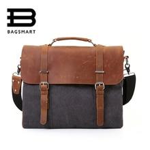BAGSMART Canvas Document Men s Messenger Bags Men Travel Bag Leather Briefcases Vintage Crossbody Satchel Fit