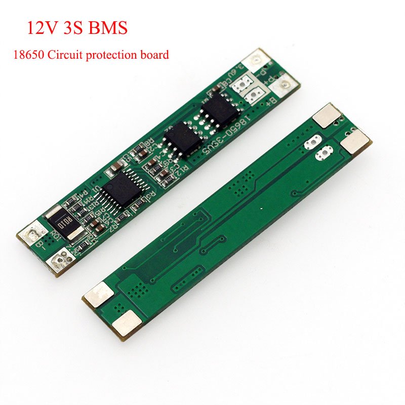 <font><b>3S</b></font> 12V 18650 lithium <font><b>battery</b></font> circuit protection board BMS 2MOS 10A discharge current DIY 10.8V 11.1V 12.6V <font><b>battery</b></font> <font><b>pack</b></font> image