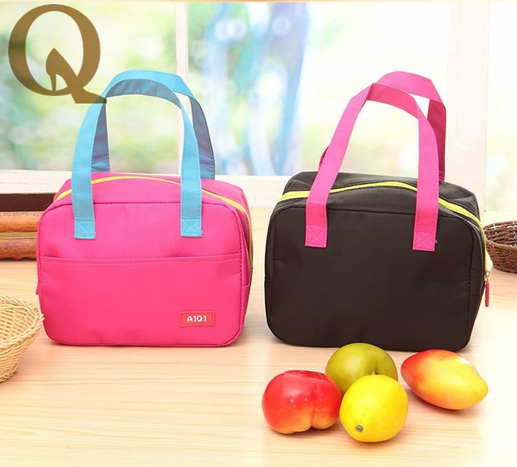 2017 Hot Portable Pure Color Bag Oxford Picnic Thermal Bag Neoprene Lunch Bag Food Cooler Bags Thermal Women Handbag for food
