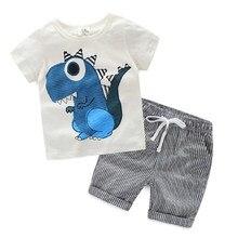 b93927dcf Sistemas de la ropa del bebé del verano 2018 nuevo algodón niños recién  nacidos ropa dinosaurio imprimir ropa Camisa + Pantalone.