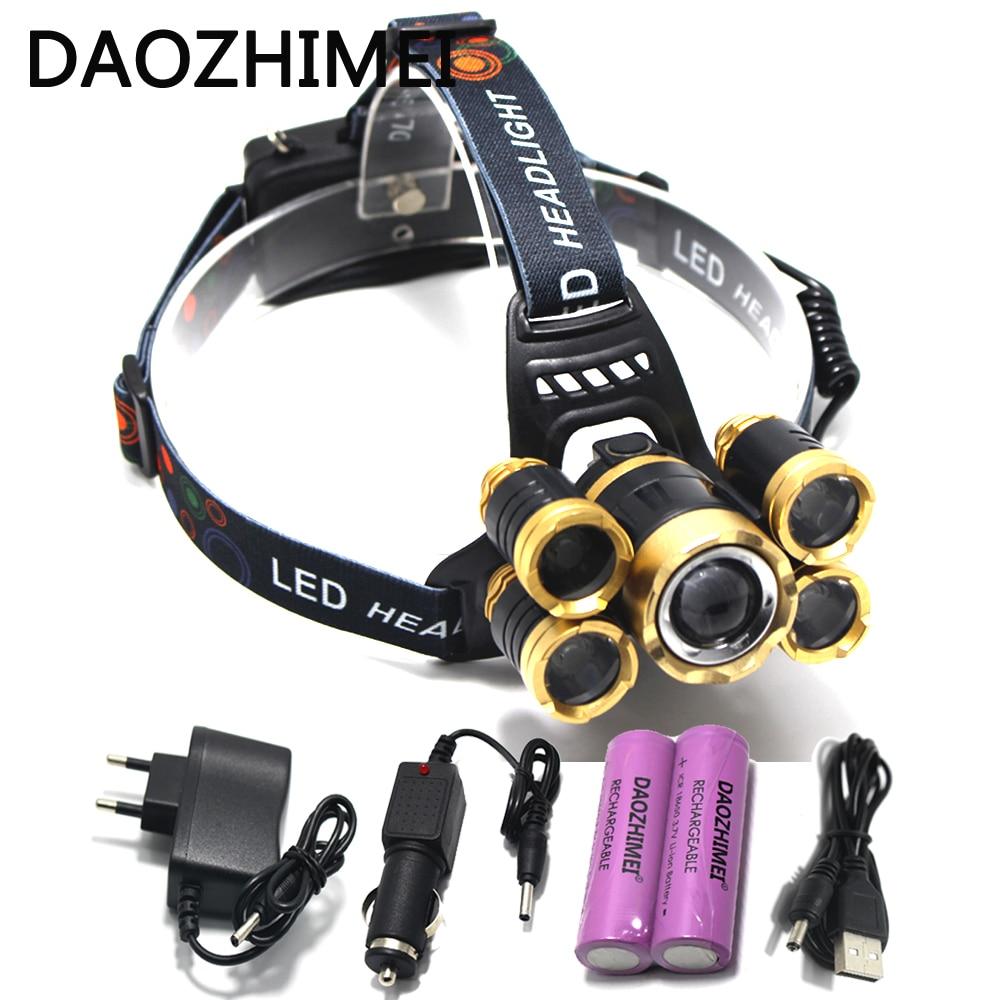 T6 + XPE LED Phare 16000lm Zoomables Projecteur 5led Tube Torche LED lampe de Poche + Chargeur De Voiture + 18650 Batteries pour Éclairage extérieur