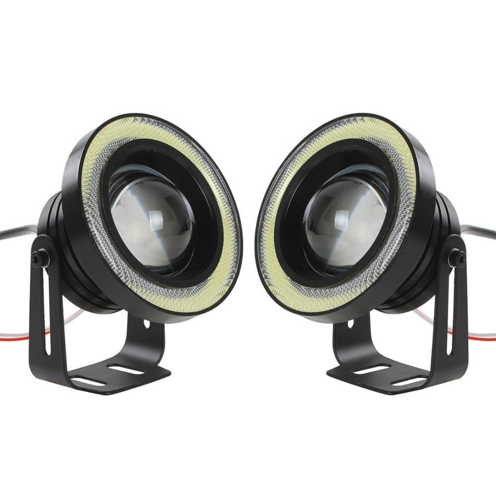 ФОТО Hot 2PCS Black 3.5 Inch 30W 1800LM 12V/24V COB Fog Light Car Angel Eyes Light