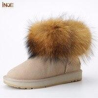 INOE Girls Fox fur Short Ankle Winter Suede Shearling snow boots for women genuine sheepskin leather Wool fur lined winter shoes