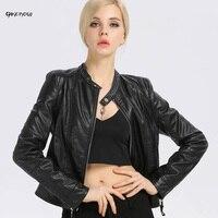 Qikenow 2017 Đứng Cổ Áo Ngắn Giả Da Cừu Đầu Máy Thời Trang Mùa Thu Giacca Pelle Donna Slim Leather Jacket N