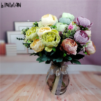 Artificial Silk Peony Flower Bouquet Home Garden Room Table Wedding Flowers Party Decoration