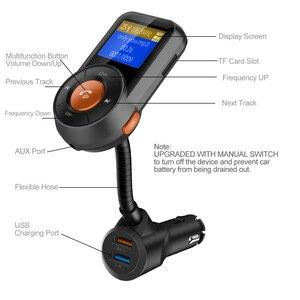 Image 4 - BT76 سيارة كيت يدوي سماعة لاسلكية تعمل بالبلوتوث FM الارسال شاشة الكريستال السائل MP3 لاعب سيارة كيت مع سريعة تهمة 3.0 2.4A شاحن سيارة
