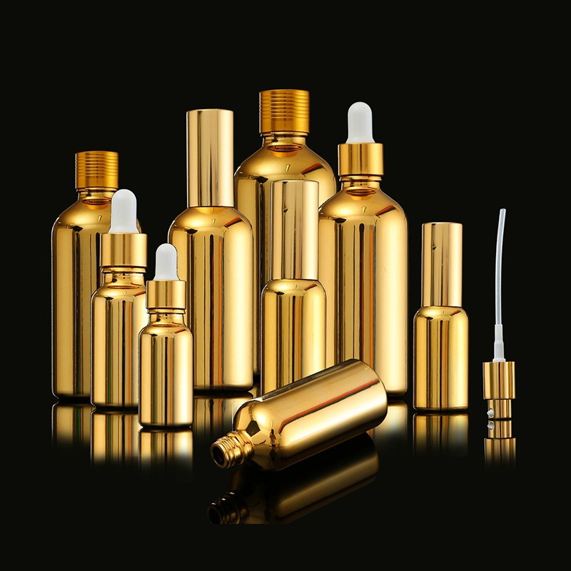 Image 5 - 15 ピースゴールドガラスエッセンシャルオイルボトルバイアル化粧品血清包装ローションポンプアトマイザースプレーボトルスポイトボトル  5/ 20/30 ミリリットル    グループ上の 美容