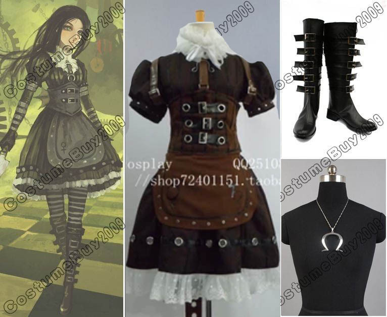 Alice Madness Returns Cosplay Steam Costume Necklace +Shoes Boots Custom Made