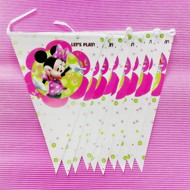 28m Set Minnie Mouse Banner And Flag Cartoon Theme Party For Kids Happy Birthday