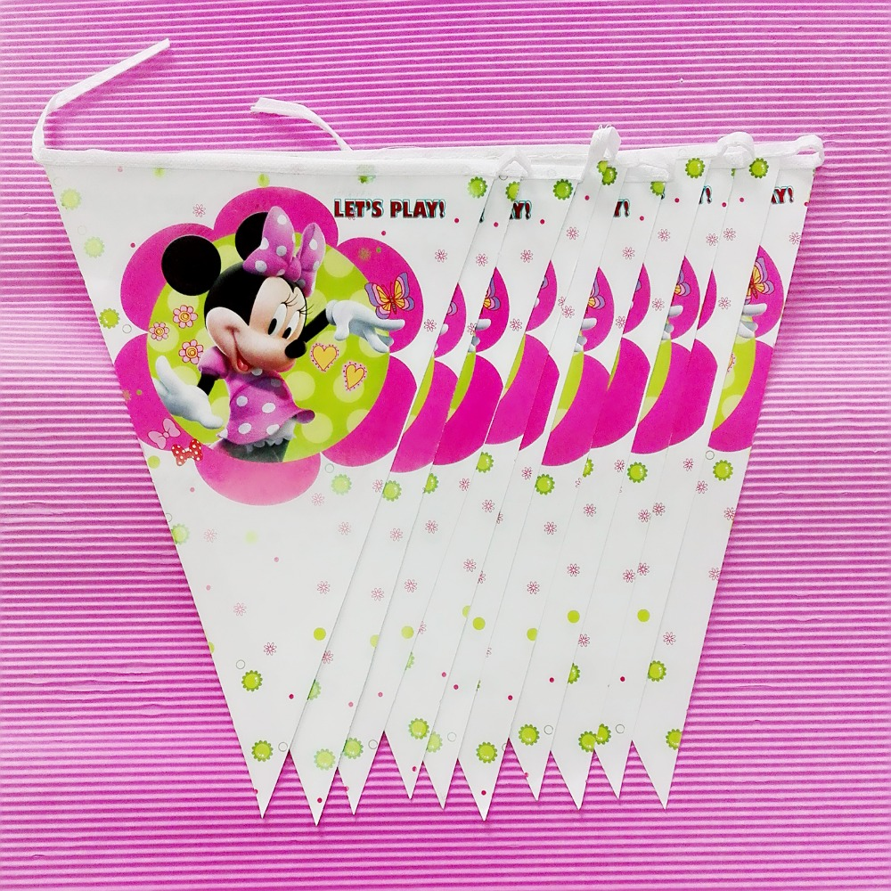 2.8m/set Minnie Mouse Banner And Flag Cartoon Theme Party For Kids Happy Birthday Decoration Theme Party Kids Favor baby shower