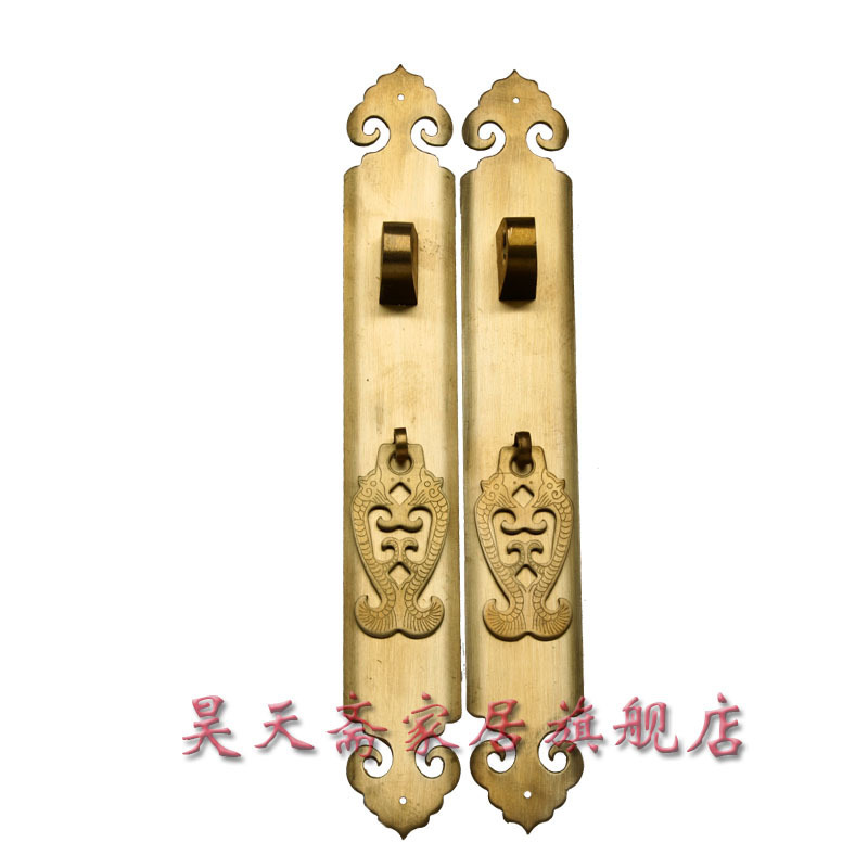 [Haotian vegetarian] antique copper handle cabinet handle modern wardrobe handle HTC-027 [haotian vegetarian] antique copper straight handle antique furniture copper fittings copper handicrafts htc 041