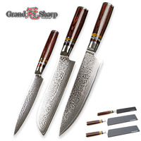 Damascus Knife Set 3 Pcs Kitchen Knife Sets Chef Santoku Utility Damascus Japanese Knives Vg10 Damascus