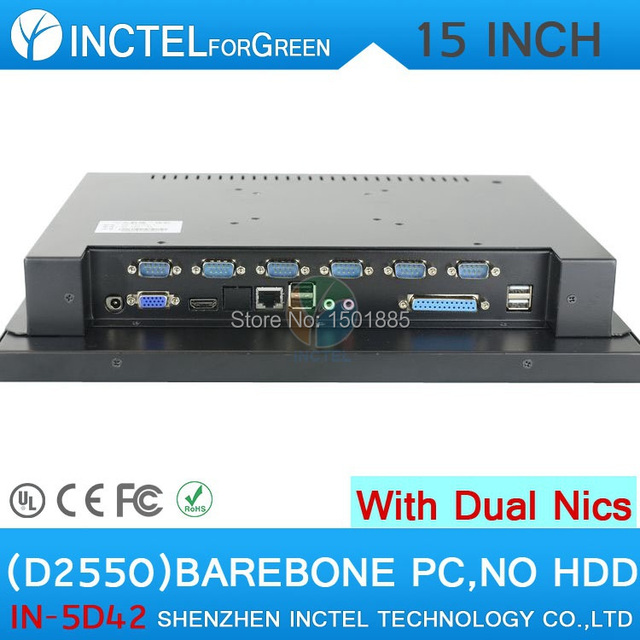 Latest barebone all in one computer with fan 15 Inch  LED touchscreen computer Intel D2550 1.86Ghz 2*1000M Lan HDMI